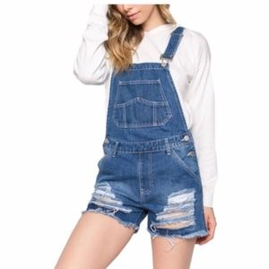 Distressed Blue Overall Denim Shorts